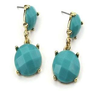 Gold-Tone Green Stone Drop Earrings